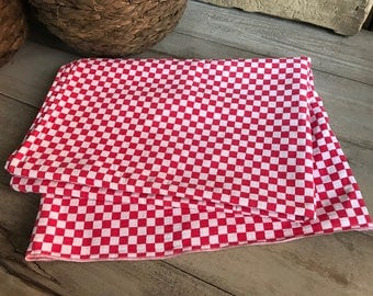 French Cotton Café,  Bistro Check, Red Gingham, French Farmhouse Cuisine