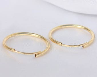 small gold hoop earrings - Beauty Gift - 14K Gold Thin Continuous Endless Hoop Earrings, 9 - 33mm (1mm Tube)