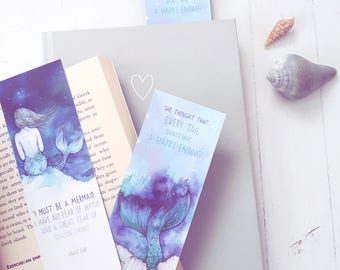 BOOKMARKS Set of two Watercolor Mermaid Quotes  - Mermaid art, Mermaid Gift, Mermaid Quote