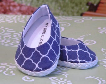 Navy Quatrefoil Ballet Flats for American Girl Dolls