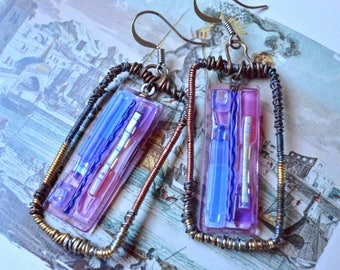 Miniature Paintings. Dichroic Glass Artisan Earrings, Wire Wrapped Frames. Iridescent purple pink and blue. Rustic Boho Gift for Her.