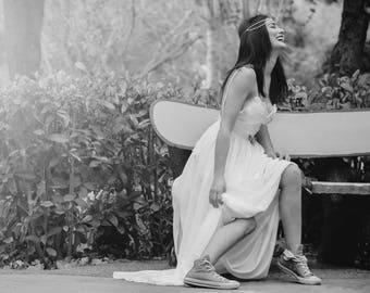 Wedding Gown, SuzannaM, Lace Wedding Dress, Chiffon Bridal Dress, Long Wedding Dress, Open Back Wedding Gown, Long Bridal Dress, Noemi