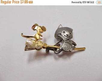 On Sale Vintage Two Tone Cat and Mouse on Broom Pin Item K # 2096