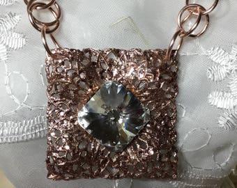 Pink Swarovski pearls , crystal and big Swarovski rhinestoned pendant