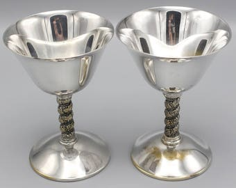 A Pair of Silver Plated Wine Goblet Glasses Spain 1960s Drinking Glasses