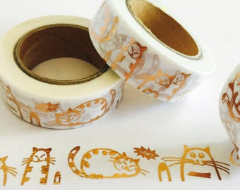 Rose Gold Cat Washi Tape