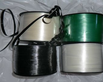 4 rolls of 250 yards curling ribbon, gift ribbon, white, ivory, green, black