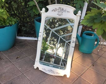 Vintage Large Ornate White Mirror -Old White painted - Country French - Shabby Chic mirror  26 x 15 - Farmhouse Decor - Cottage Chic
