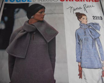 Vintage 1960's Vogue 2283 Paris Original Nina Ricci Two-Piece Dress and Scarf Sewing Pattern Size 12 Bust 34