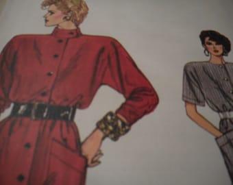 Vintage 1980's Vogue 9645 Dress Sewing Pattern Size 14-16-18