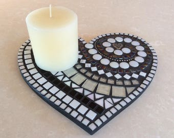 Mosaic Heart Candle Holder or Wall Art