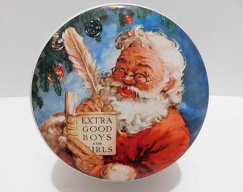 Vintage Daher Christmas Santa Tin Made In England