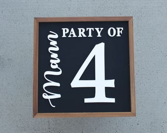 Party of 4 Sign - Number Wall Decor - Gallery Wall Art - Personalized Family Name - Personalized Wood Sign - Custom Home Decor - Farmhouse