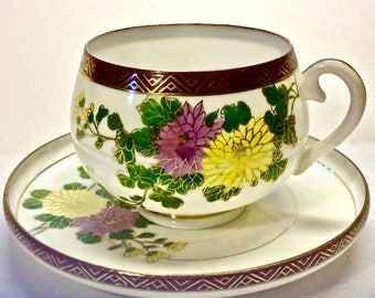 Hakusan Eggshell Cup and Saucer Occupied Japan Fine Bone China, Chrysanthemums Rimmed Saucer, Teacup Collector