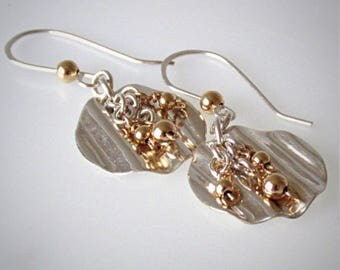 Mixed Metal Earrings, Silver and Gold Beaded Drops