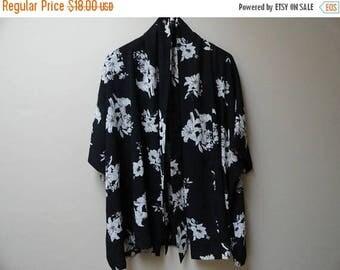 SALE Black Floral Kimono Robe Blouse one size s m l
