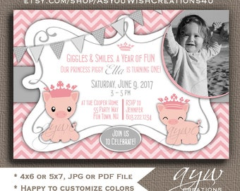 Pig Birthday Party Invitations Girl First Birthday Pig Party Invitations Printable Invitation Pig 1st Birthday Invitation Girl Piggy ANY AGE