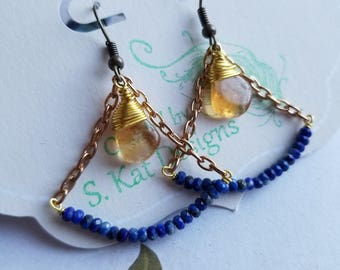 Citrine and Lapis dangly earrings in gold (2)