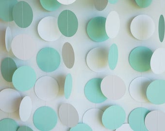 Mint Green / White Garland, Mint Wedding Decoration, Mint Baby Shower Decor, Bridal Shower, Wedding Photo Backdrop, 10 ft. long