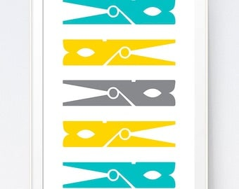 Turquoise and Mustard Clothespin, Yellow  Blue Printable Wall Art, Laundry Room Teal and Mustard Decorations Clothespin, INSTANT DOWNLOAD