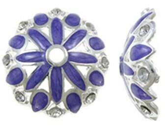 2pc 29mm  antique silver finish enamal and rhinestone metal bead cap-4802e