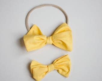 Sunshine Yellow Emmie Bow Headband or Clip