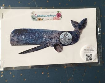 Whale Articulated Paper Doll- Handmade from a print of an original illustration- Vintage Nautical Scene-Ready to Ship