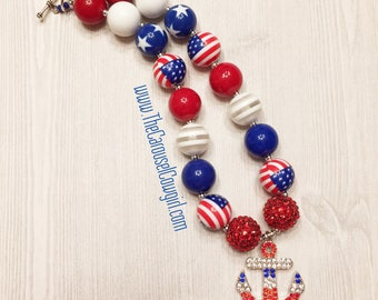 Red White and Blue Anchor Bubblegum Necklace, Anchor Necklace, Chunky Necklace, USA Necklace, Photo Prop, Toddler Necklace, Anchor