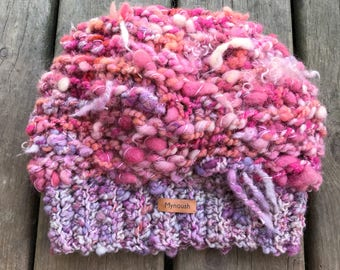 Custom Slouchy Hat, knitted beanie, in wool and alpaca, made of hand spun yarn, your choice of colors, Made to order