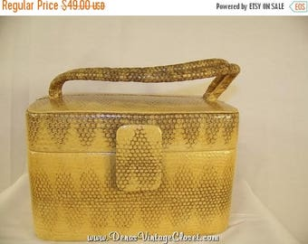 On Sale 50% OFF Vintage Katherine Kristi Yellow Reptile Box Handbag Purse