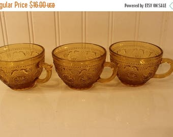 On Sale 50% OFF Lot of  3 Vintage Amber Sandwich Glass Cups