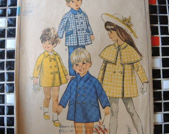 vintage 1960s simplicity sewing pattern 8069 childs coat with detachable cape size 4