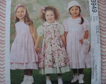 2000s McCalls sewing pattern 3949 girls' dress pinafore and petticoat size 3-4-5