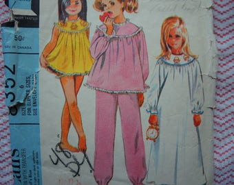 vintage 1960s McCalls sewing pattern 8352 girls nightgown pajamas and shorties  size 6