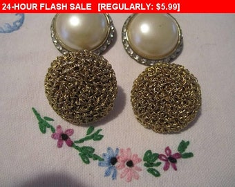 Two chunky clip earrings, craft, repurpose, vintage, retro as is