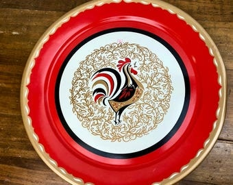 Vintage, Large, Round Metal Tray with Rooster, Red, Black and Gold