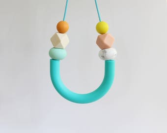 Silicone Teething Necklace, breastfeeding and teething jewellery BPAfree chewable silicone beads with natural wooden bead by Mustard & Mint
