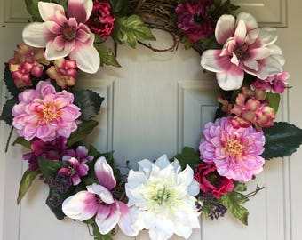 Handcrafted Floral Wreath w/Silk Flowers!