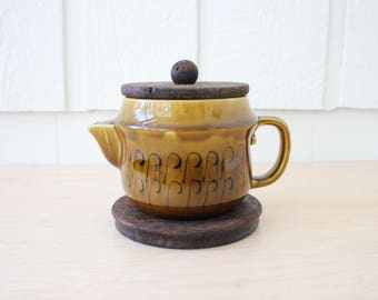 Vintage ceramic teapot with cork lid and trivet mustard gold stoneware made in Portugal
