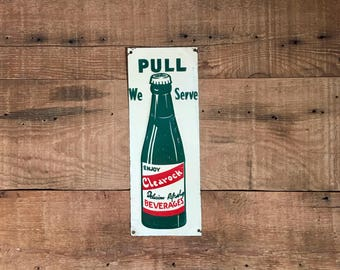 Rare antique tin door push sign, clear rock beverages door push sign, country store sign, advertising sign, man cave decor, door sign, small