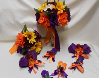 Wedding Silk Flower Bridal Bouquet Package Fall Purple Orange Sunflower Burgundy Greenery Bridesmaids  Boutonnieres Corsages FREE SHIPPING