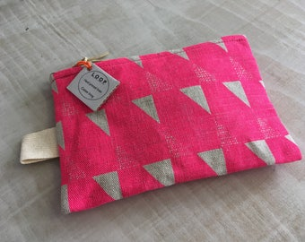 Purse-printed linen 'GEO PINK'