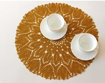 ON SALE Golden Ocher linen crochet doily, round doily, hand crochet tableclothes, Mothers day home decoration, Ready to ship