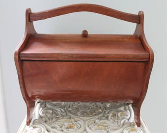 Vintage solid wood 1960s flip top sewing box, Vintage wood sewing box, opens completely