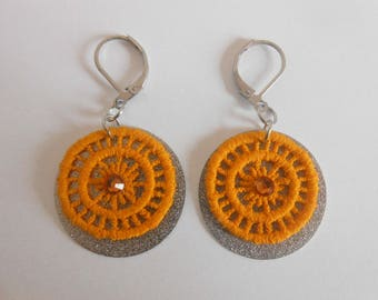 Earrings with yellow lace and glitter sequins