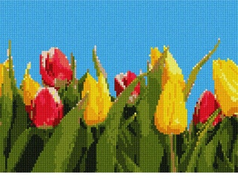Needlepoint Kit or Canvas: Tulip Banner