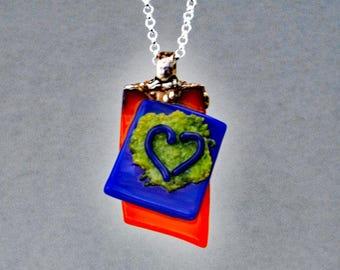 "Heart Pendant, Silver Bail, 18"" Silver Chain, Glass Heart Pendant, Unique Heart Pendant, Necklace, Art Glass Pendant"
