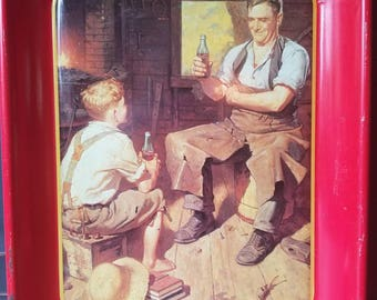 Vintage Coca Cola Tray, Village Blacksmith, Advertising, Collectible, Frederic Stanley, Home Decor