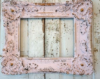 Ornate wood pink frame wall hanging shabby cottage chic distressed gold accented frame very heavy wood home decor anita spero design
