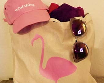Pink Flamingo Beach Tote Beach Bag Reusable Grocery Tote Canvas Tote Bag
